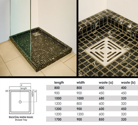 marble mosaic shower trays black stone shower tray. Black Bedroom Furniture Sets. Home Design Ideas