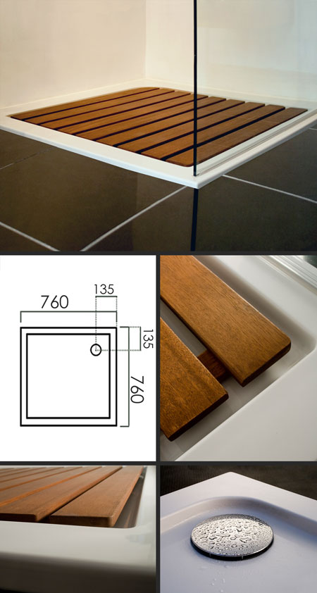 Designer Shower Tray With Wood Insert