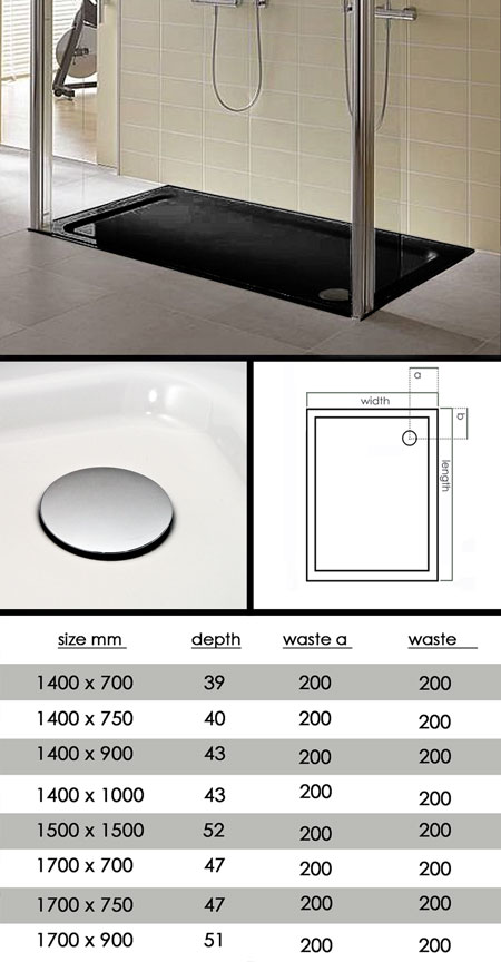 large shower tray coloured shower trays black cream. Black Bedroom Furniture Sets. Home Design Ideas