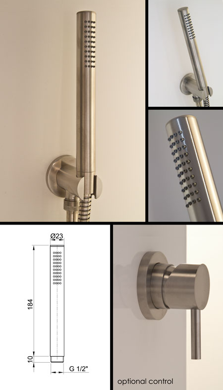 Noa Handheld Shower Head Brushed Stainless Steel Taps