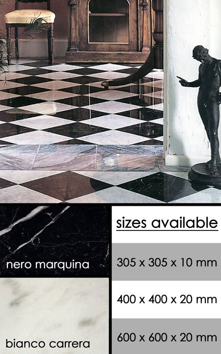 Traditional Black Amp White Marble Chequeboard Flooring Tiles