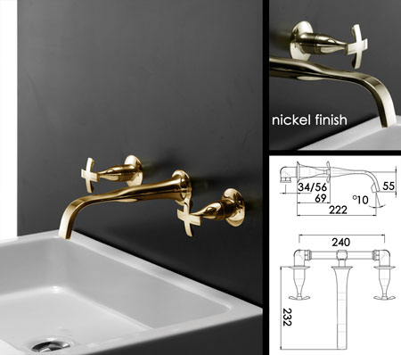 Gold Taps Wall Mouinted Basin Coox