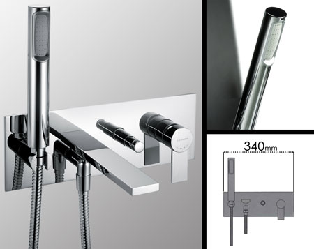Loft Wall Mounted Bath Filler With Shower (37J)