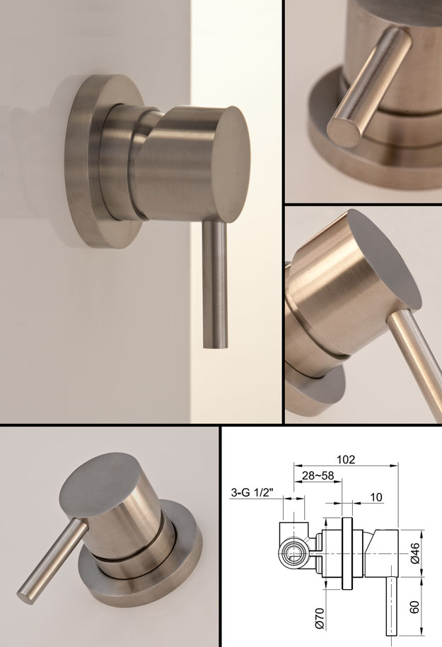Noa Manual Shower Valve | Brushed Stainless Steel Taps