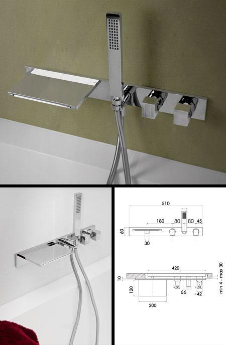 Waterblade Wall Mounted Bath Tap U0026 Shower (38C)