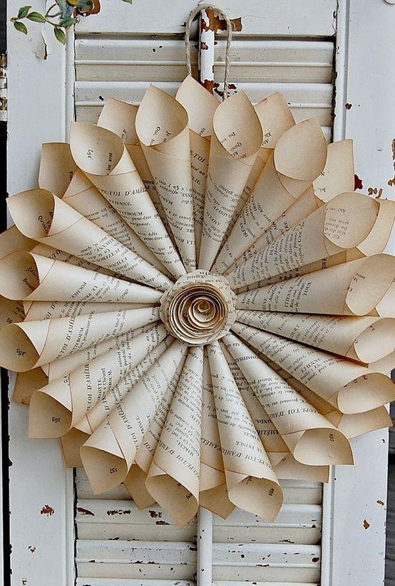 book-paper-wreath