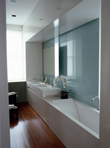 Tackling narrow bathroom layouts livinghouse blog for Narrow bathroom designs