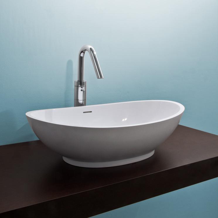 Luna Wash Basin - White Stone Resin - Livinghouse