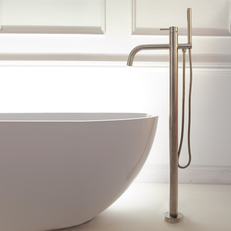 Noa Floor Mounted Bath Filler - Brushed Stainless Steel - Livinghouse